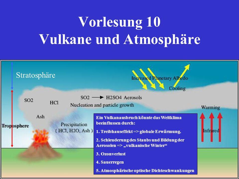 Vorlesung 10 Vulkane und Atmosphäre Stratosphäre Ein Vulkanausbruch könnte das Weltklima beeinflussen durch: 1. Treibhauseffekt => globale Erwärmung.