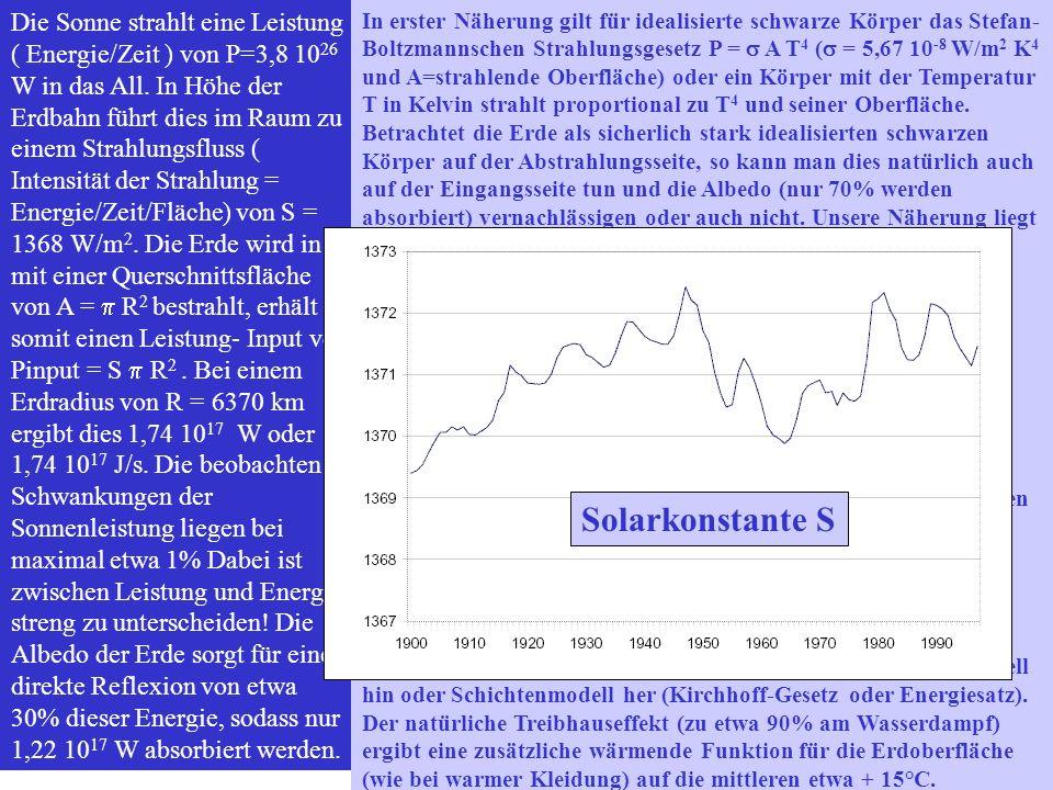 Die Sonne strahlt eine Leistung ( Energie/Zeit ) von P=3,8 10 26 W in das All. In Höhe der Erdbahn führt dies im Raum zu einem Strahlungsfluss ( Inten