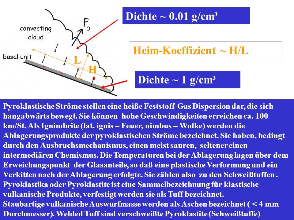 Pyroklastische Ströme stellen eine heiße Feststoff-Gas Dispersion dar, die sich hangabwärts bewegt. Sie können hohe Geschwindigkeiten erreichen ca. 10