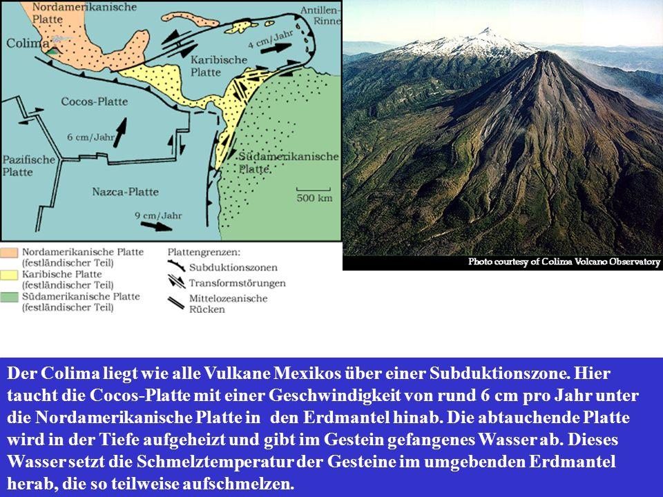 Der Colima liegt wie alle Vulkane Mexikos über einer Subduktionszone. Hier taucht die Cocos-Platte mit einer Geschwindigkeit von rund 6 cm pro Jahr un