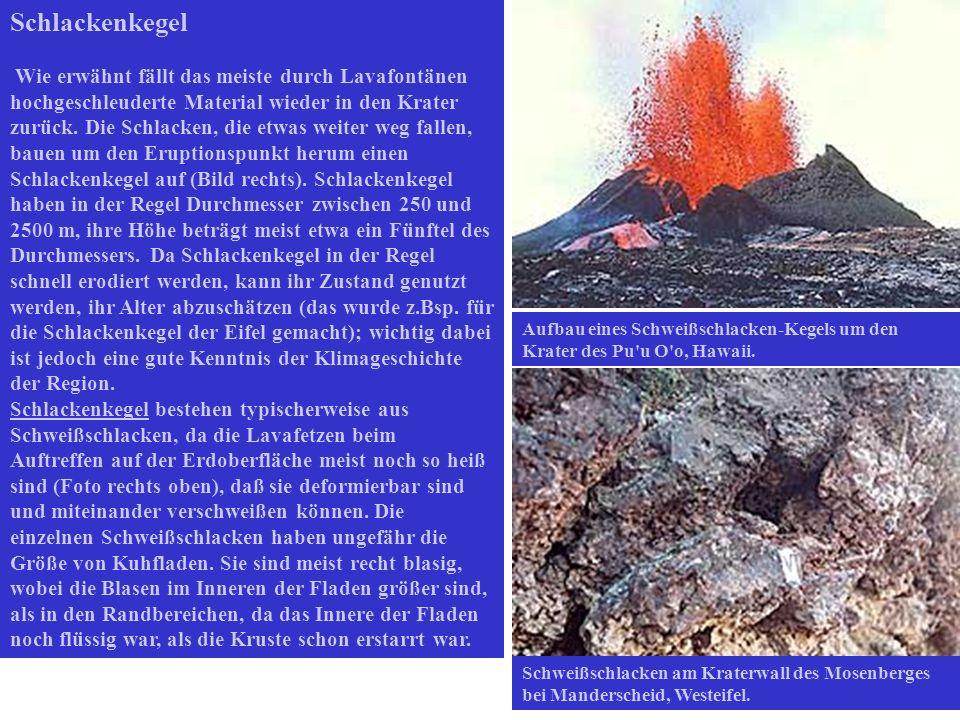 Schlackenkegel Wie erwähnt fällt das meiste durch Lavafontänen hochgeschleuderte Material wieder in den Krater zurück. Die Schlacken, die etwas weiter