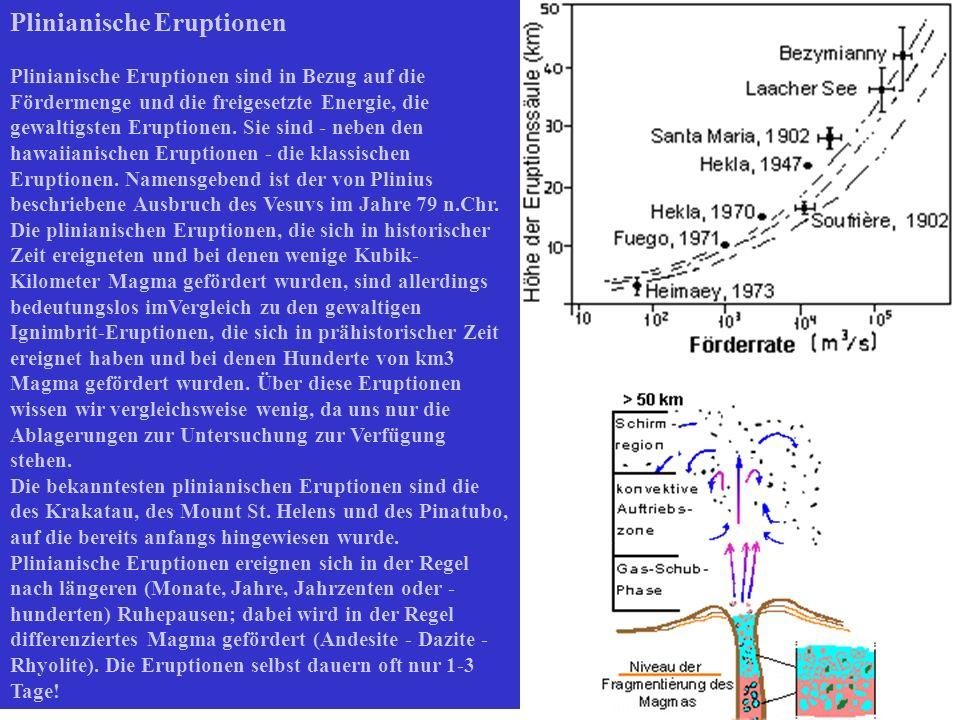 Plinianische Eruptionen Plinianische Eruptionen sind in Bezug auf die Fördermenge und die freigesetzte Energie, die gewaltigsten Eruptionen. Sie sind