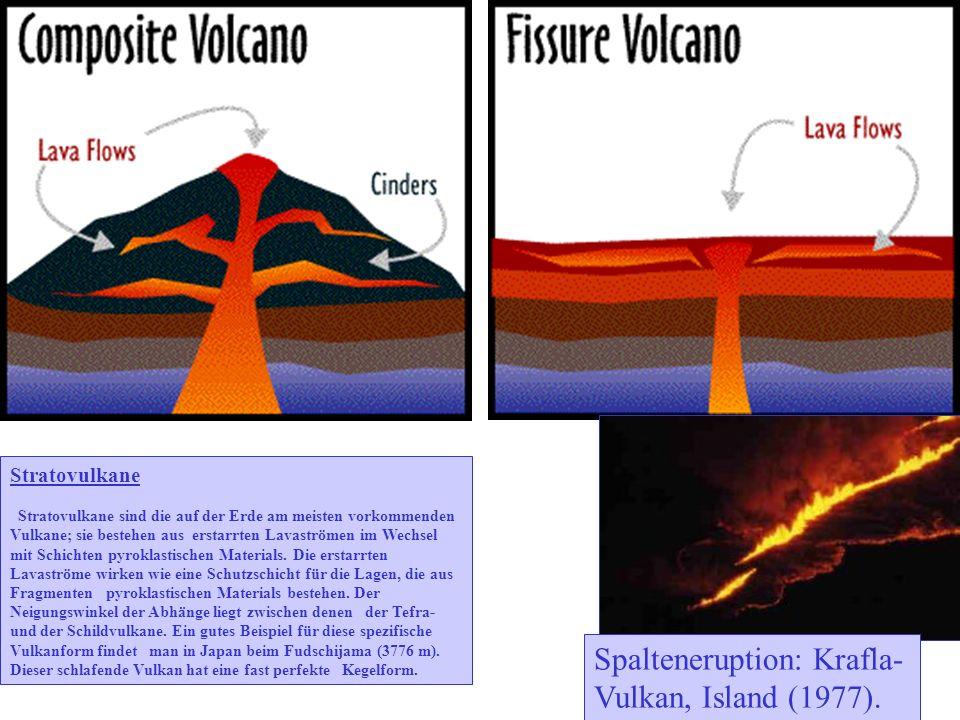 Stratovulkane Stratovulkane sind die auf der Erde am meisten vorkommenden Vulkane; sie bestehen aus erstarrten Lavaströmen im Wechsel mit Schichten pyroklastischen Materials.