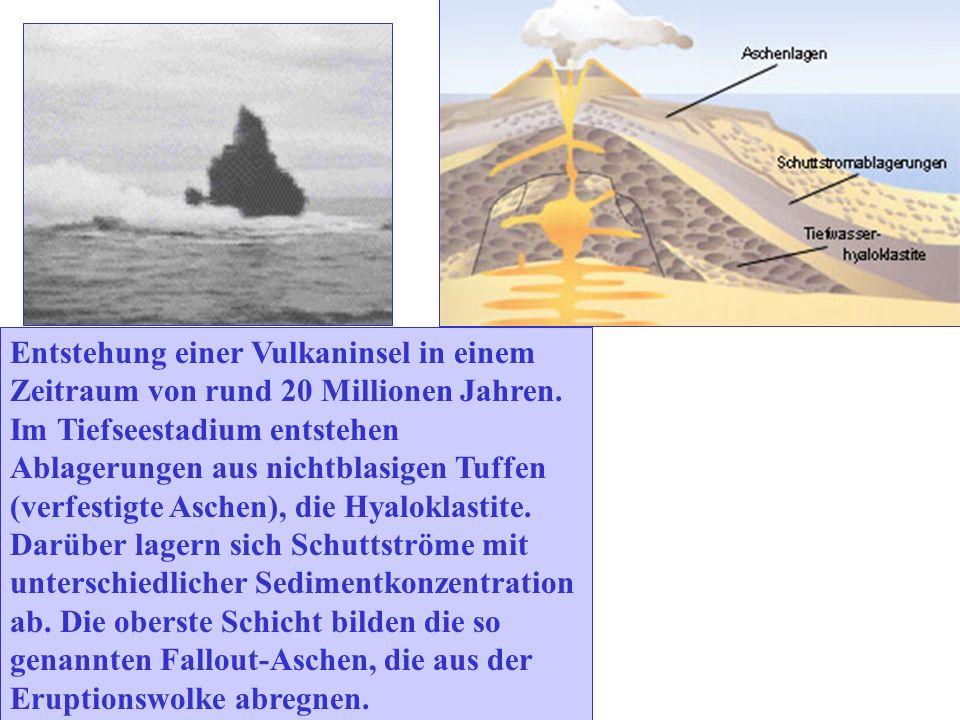 Entstehung einer Vulkaninsel in einem Zeitraum von rund 20 Millionen Jahren. Im Tiefseestadium entstehen Ablagerungen aus nichtblasigen Tuffen (verfes