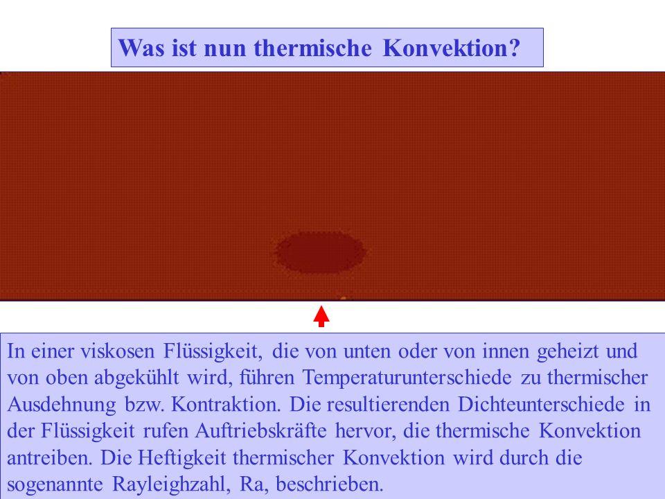 Was ist nun thermische Konvektion? In einer viskosen Flüssigkeit, die von unten oder von innen geheizt und von oben abgekühlt wird, führen Temperaturu