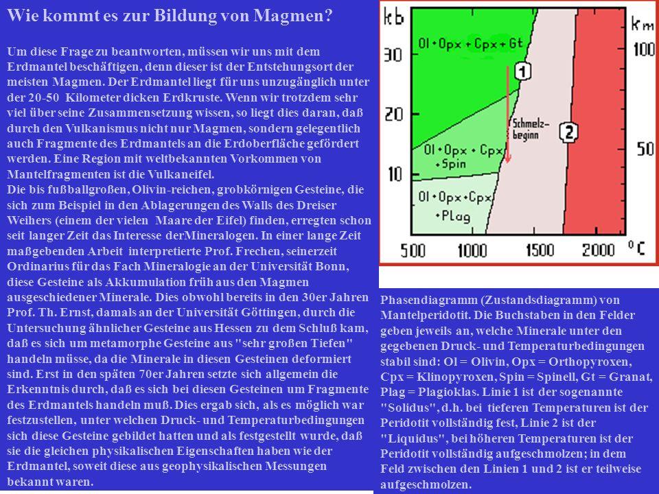 Wie kommt es zur Bildung von Magmen? Um diese Frage zu beantworten, müssen wir uns mit dem Erdmantel beschäftigen, denn dieser ist der Entstehungsort