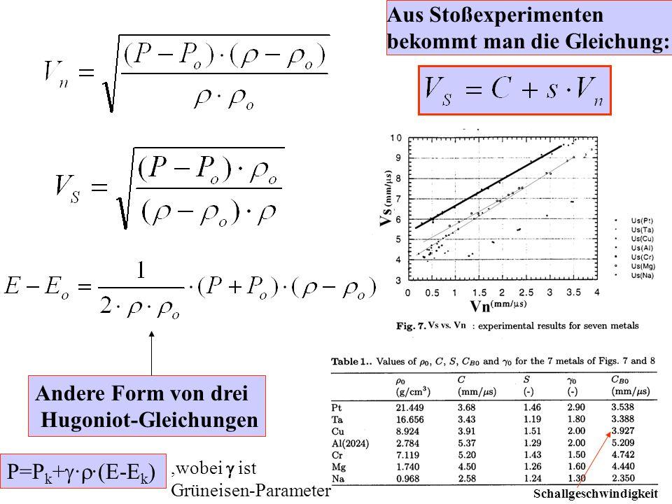 Drei Hugoniot - Gleichungen 1.