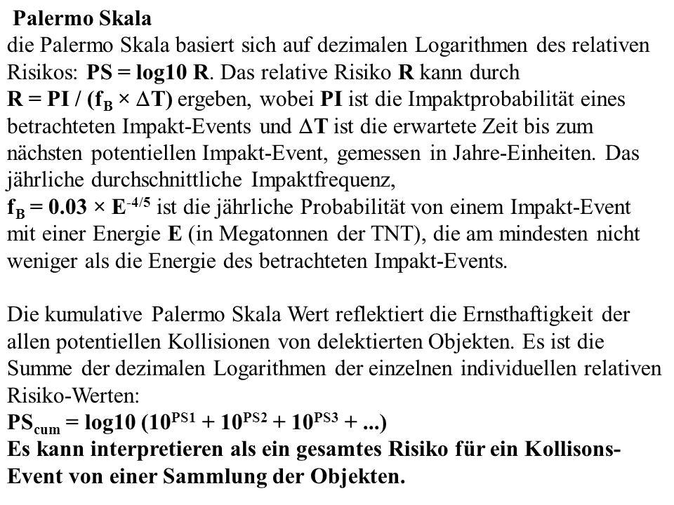 Palermo Skala die Palermo Skala basiert sich auf dezimalen Logarithmen des relativen Risikos: PS = log10 R.