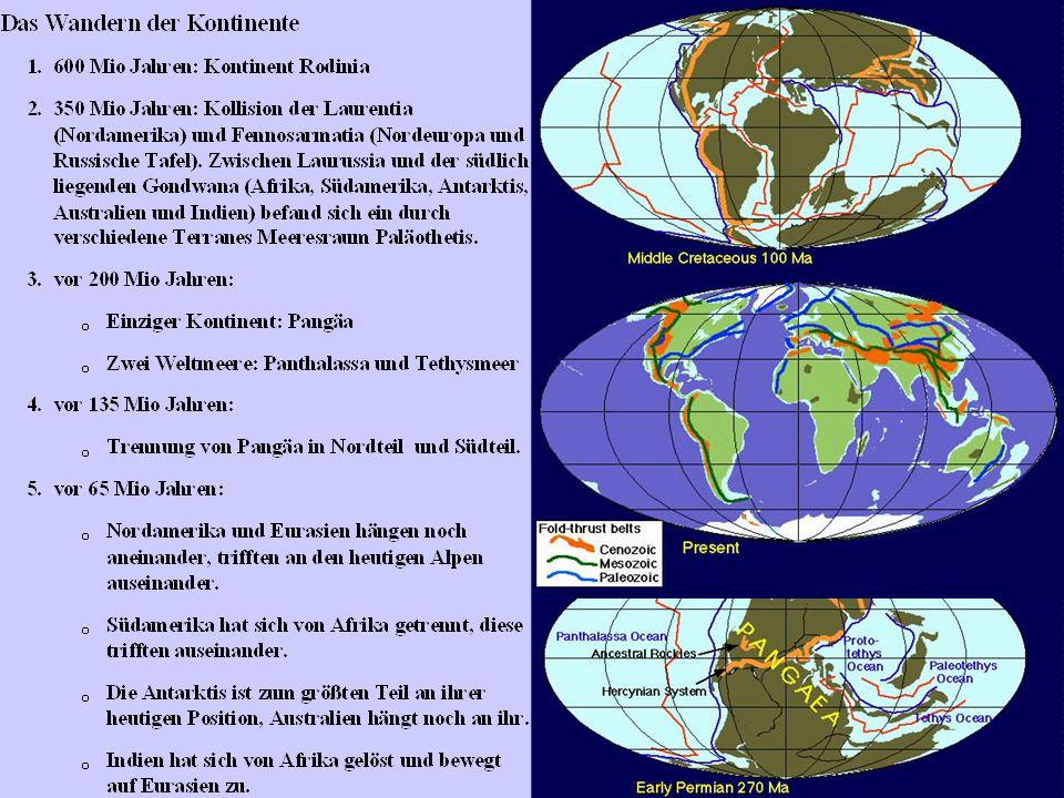 Die Entwicklungsgeschichte der Erde Erdaltertum Paläozoikum 570 Mio J. bis 225 Mio J. Erdmittelalter Meosozoikum 225 Mio J. bis 65 Mio J. Erdneuzeit N