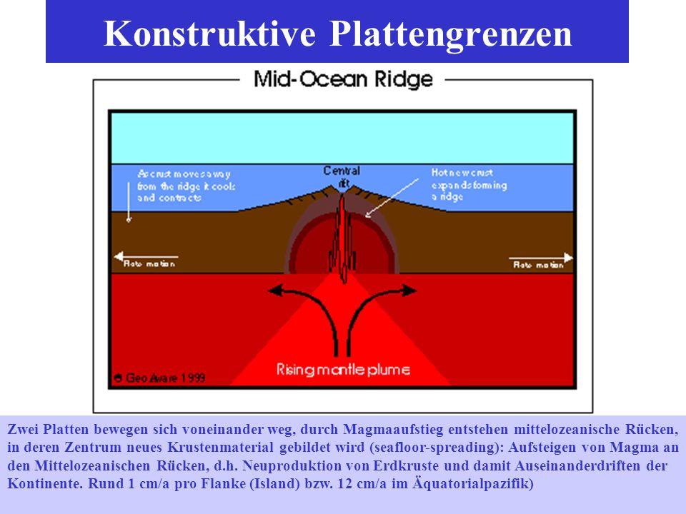 Divergierende (Mittelozeanische Rücken und Transformverwerfungen) und konvergierenge (Subduktionszone, Wadati-Benioff-Zone) Plattenränder. Jährliche M