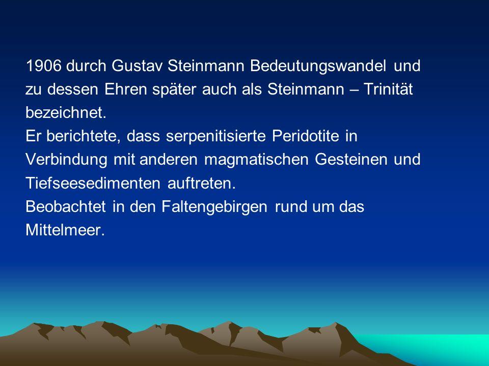 1906 durch Gustav Steinmann Bedeutungswandel und zu dessen Ehren später auch als Steinmann – Trinität bezeichnet. Er berichtete, dass serpenitisierte