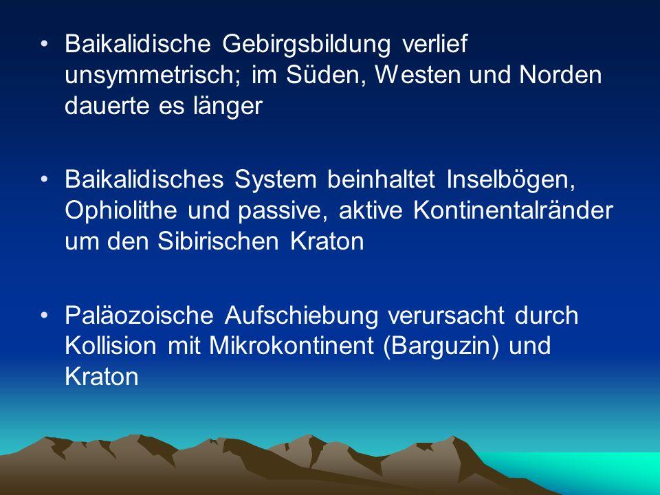 Baikalidische Gebirgsbildung verlief unsymmetrisch; im Süden, Westen und Norden dauerte es länger Baikalidisches System beinhaltet Inselbögen, Ophioli