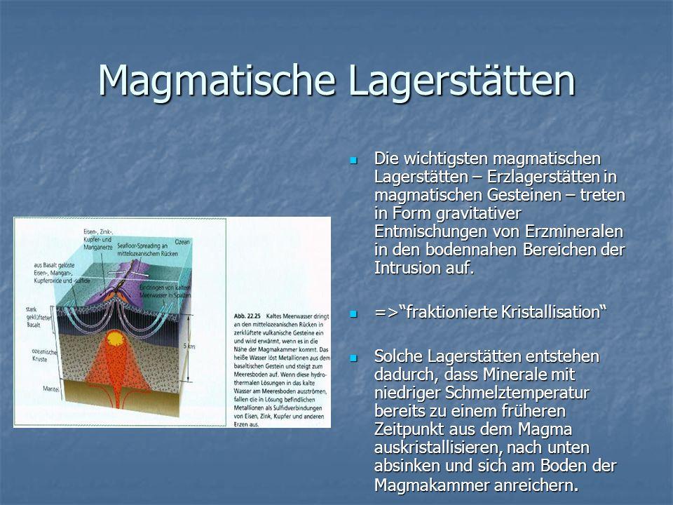 Magmatische Lagerstätten Die wichtigsten magmatischen Lagerstätten – Erzlagerstätten in magmatischen Gesteinen – treten in Form gravitativer Entmischu
