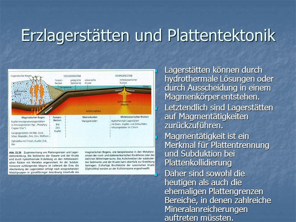 Erzlagerstätten und Plattentektonik Lagerstätten können durch hydrothermale Lösungen oder durch Ausscheidung in einem Magmenkörper entstehen. Lagerstä