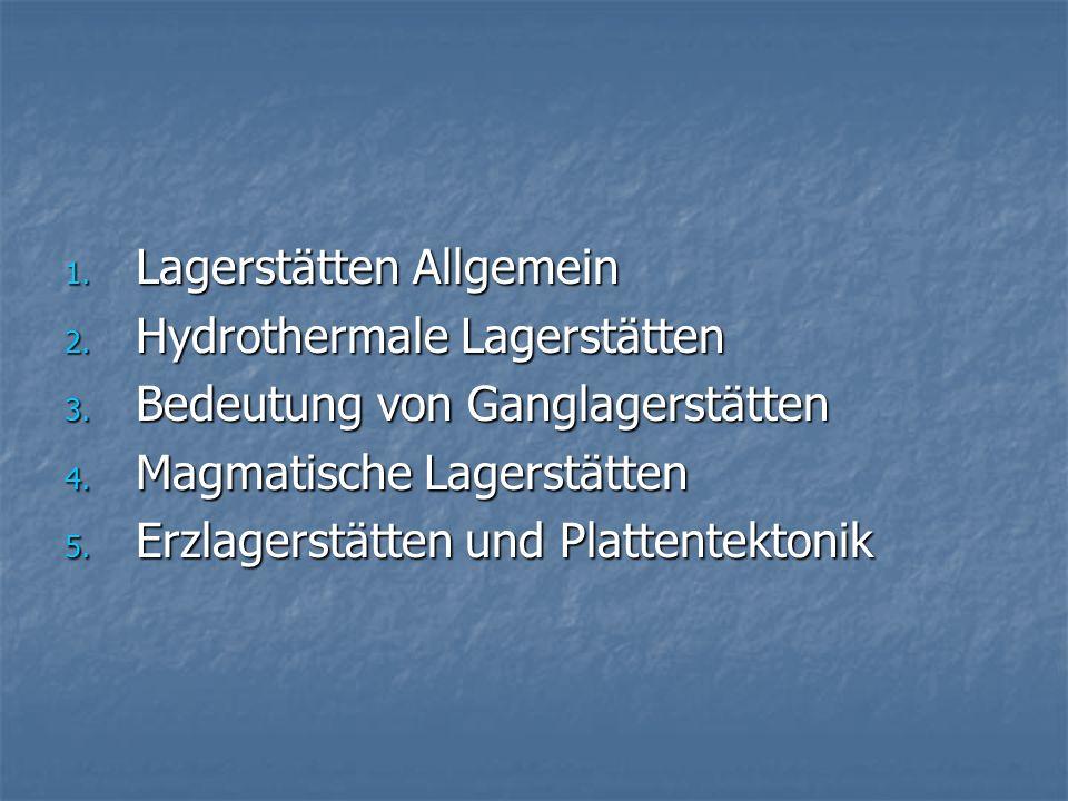 1. Lagerstätten Allgemein 2. Hydrothermale Lagerstätten 3. Bedeutung von Ganglagerstätten 4. Magmatische Lagerstätten 5. Erzlagerstätten und Plattente