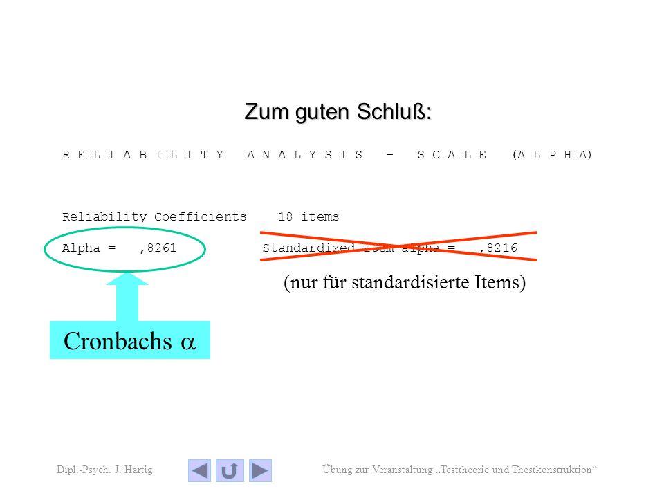 Übung zur Veranstaltung Testtheorie und ThestkonstruktionDipl.-Psych.