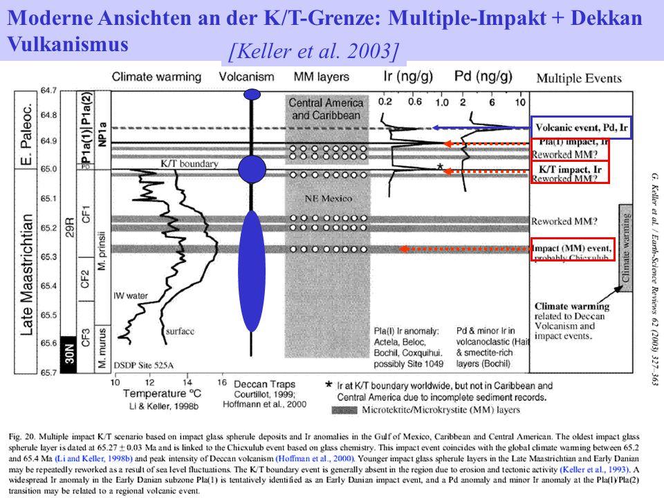 Moderne Ansichten an der K/T-Grenze: Multiple-Impakt + Dekkan Vulkanismus [Keller et al. 2003]