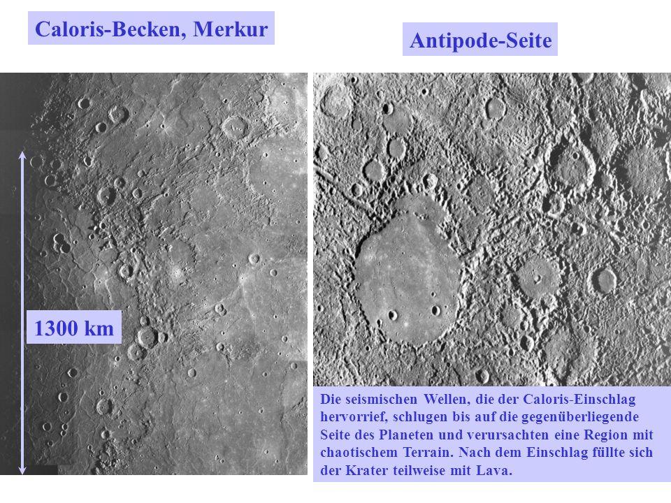 Caloris-Becken, Merkur Die seismischen Wellen, die der Caloris-Einschlag hervorrief, schlugen bis auf die gegenüberliegende Seite des Planeten und ver