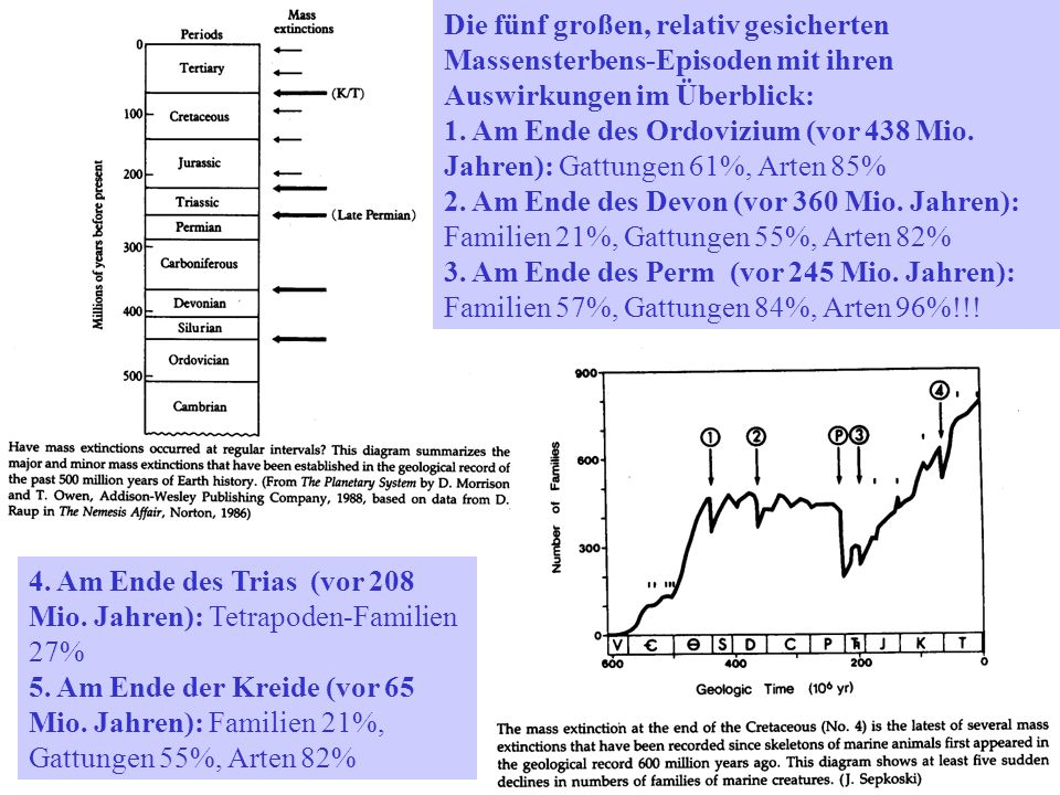 Die fünf großen, relativ gesicherten Massensterbens-Episoden mit ihren Auswirkungen im Überblick: 1. Am Ende des Ordovizium (vor 438 Mio. Jahren): Gat