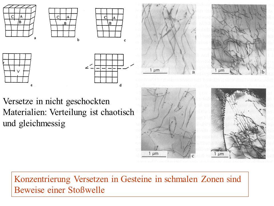 Versetze in nicht geschockten Materialien: Verteilung ist chaotisch und gleichmessig Konzentrierung Versetzen in Gesteine in schmalen Zonen sind Bewei