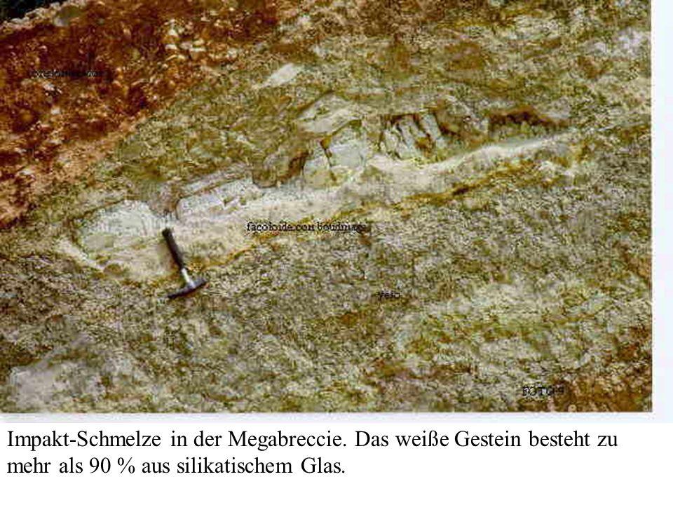 Impakt-Schmelze in der Megabreccie. Das weiße Gestein besteht zu mehr als 90 % aus silikatischem Glas.