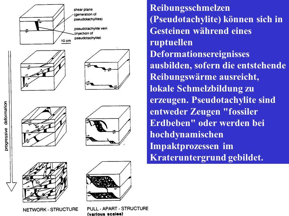 Reibungsschmelzen (Pseudotachylite) können sich in Gesteinen während eines ruptuellen Deformationsereignisses ausbilden, sofern die entstehende Reibun