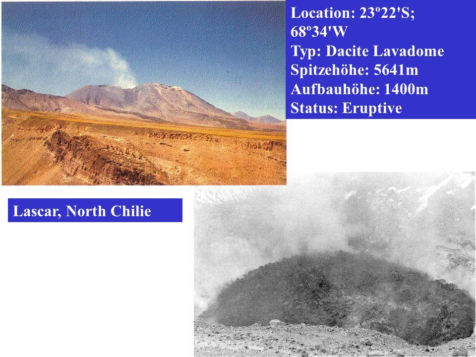 Location: 23º22'S; 68º34'W Typ: Dacite Lavadome Spitzehöhe: 5641m Aufbauhöhe: 1400m Status: Eruptive Lascar, North Chilie