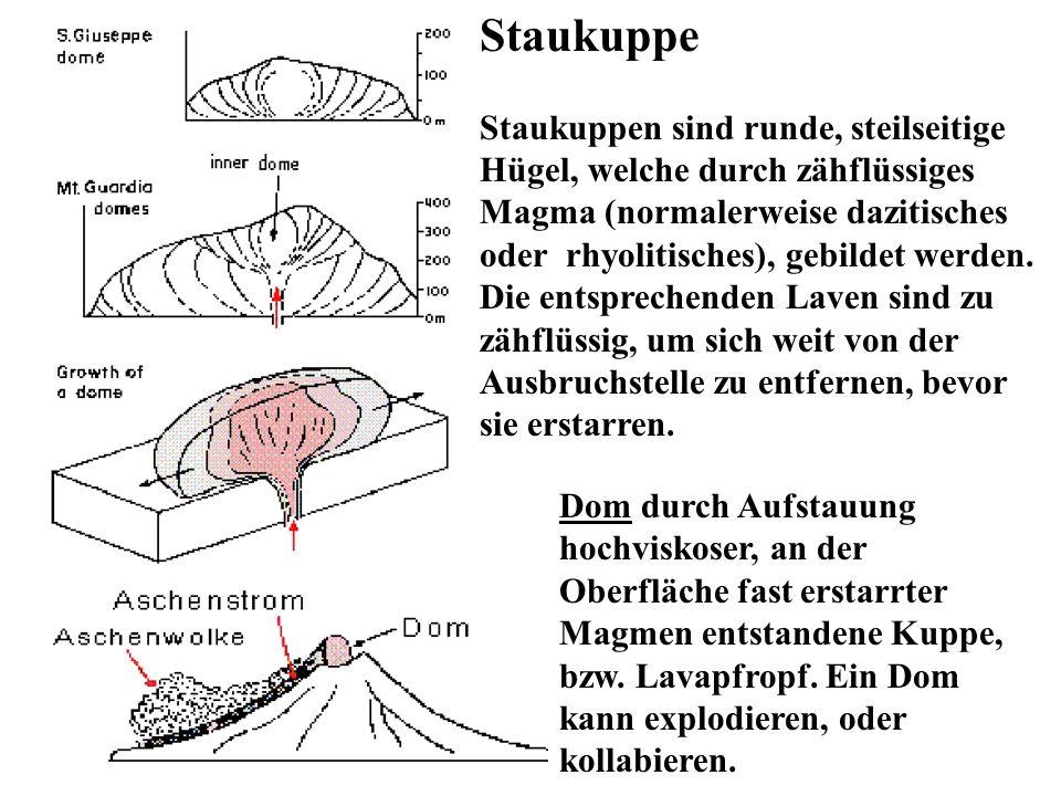 Staukuppe Staukuppen sind runde, steilseitige Hügel, welche durch zähflüssiges Magma (normalerweise dazitisches oder rhyolitisches), gebildet werden.