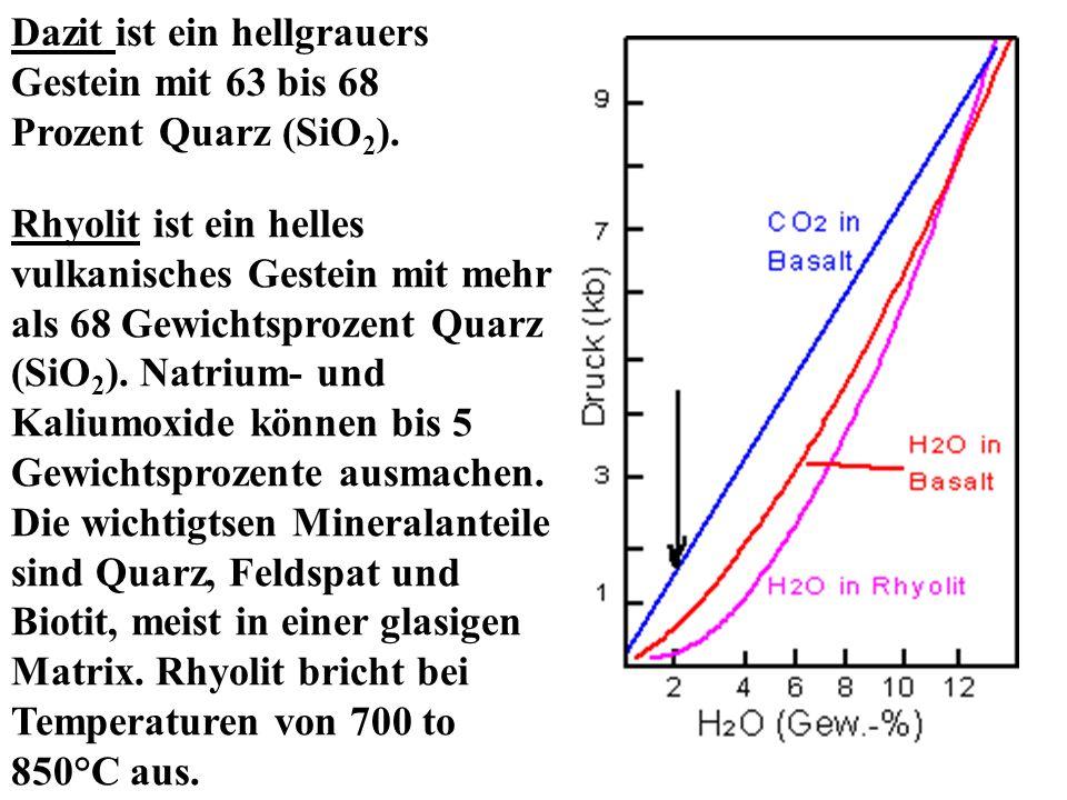 Dazit ist ein hellgrauers Gestein mit 63 bis 68 Prozent Quarz (SiO 2 ). Rhyolit ist ein helles vulkanisches Gestein mit mehr als 68 Gewichtsprozent Qu