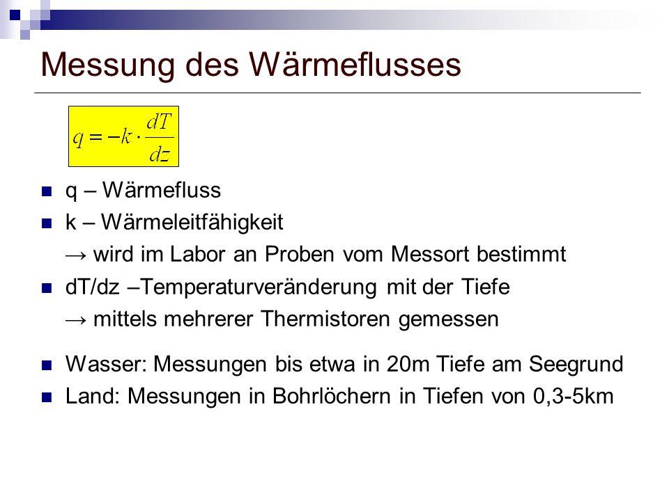 Messung des Wärmeflusses q – Wärmefluss k – Wärmeleitfähigkeit wird im Labor an Proben vom Messort bestimmt dT/dz –Temperaturveränderung mit der Tiefe mittels mehrerer Thermistoren gemessen Wasser: Messungen bis etwa in 20m Tiefe am Seegrund Land: Messungen in Bohrlöchern in Tiefen von 0,3-5km
