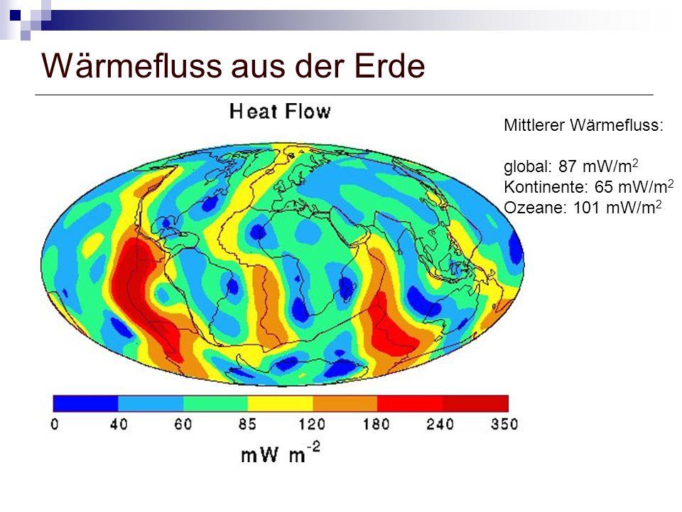 Wärmefluss aus der Erde Mittlerer Wärmefluss: global: 87 mW/m 2 Kontinente: 65 mW/m 2 Ozeane: 101 mW/m 2