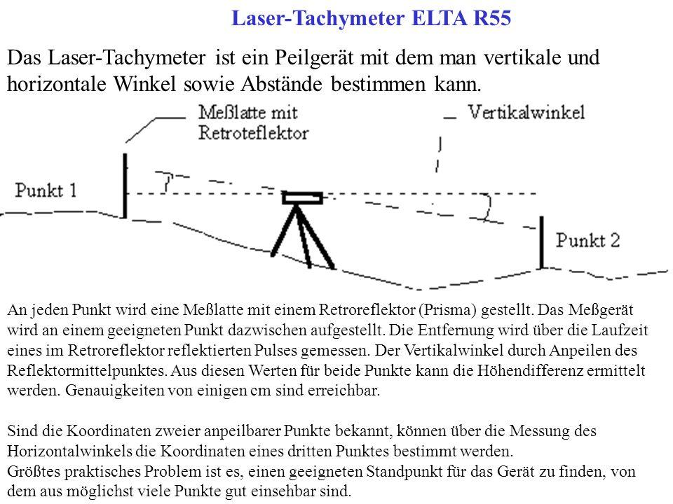 Laser-Tachymeter ELTA R55 Das Laser-Tachymeter ist ein Peilgerät mit dem man vertikale und horizontale Winkel sowie Abstände bestimmen kann. An jeden