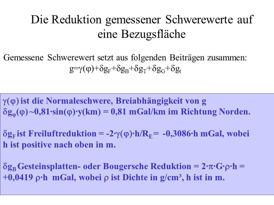 g T Geländereduktion: Wegen einer Erhebung des Volumelements V mit einer Grundfläche F und der Hohe h im Schwerpunktabstand s: Masse des Elements = · V g T =-G· · V/s²·sin( )=- =- 1/2·G· · F/s³ ·h² g T =-1/2·G· · ( F i /s i ³ ·h i ²) g G Massenunregelmessigkeiten Sin( h/(2·s)