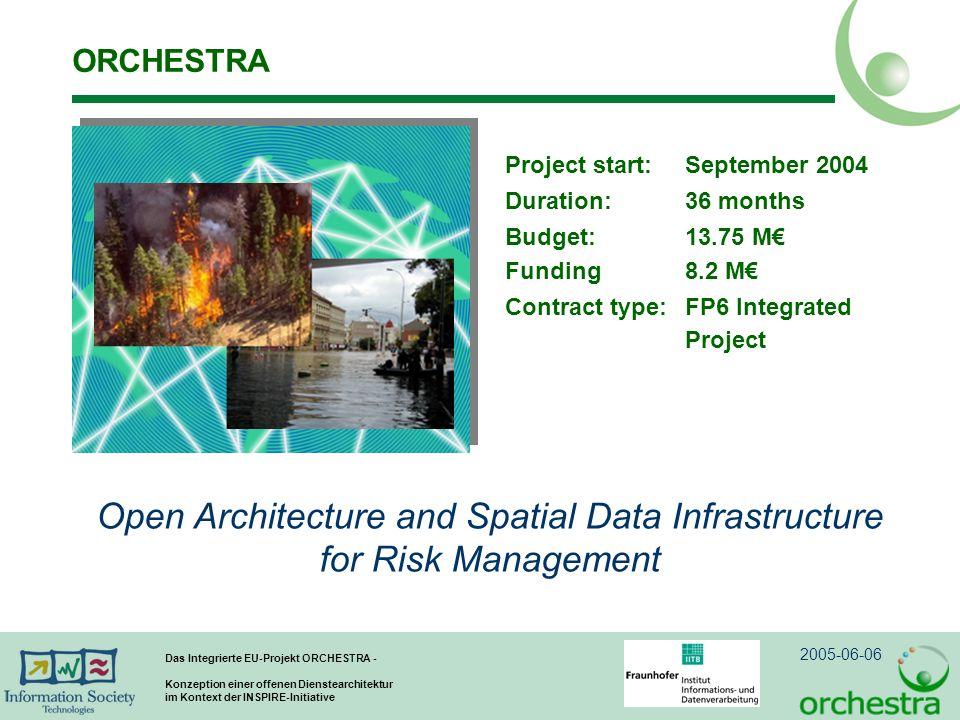 2005-06-06 Das Integrierte EU-Projekt ORCHESTRA - Konzeption einer offenen Dienstearchitektur im Kontext der INSPIRE-Initiative ORCHESTRA Project start: September 2004 Duration: 36 months Budget: 13.75 M Funding 8.2 M Contract type:FP6 Integrated Project Open Architecture and Spatial Data Infrastructure for Risk Management