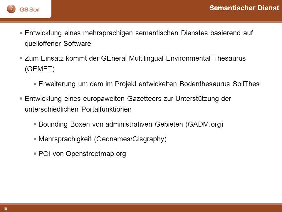 10 Semantischer Dienst Entwicklung eines mehrsprachigen semantischen Dienstes basierend auf quelloffener Software Zum Einsatz kommt der GEneral Multil