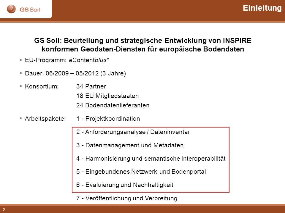 2 Einleitung GS Soil: Beurteilung und strategische Entwicklung von INSPIRE konformen Geodaten-Diensten für europäische Bodendaten EU-Programm: eConten