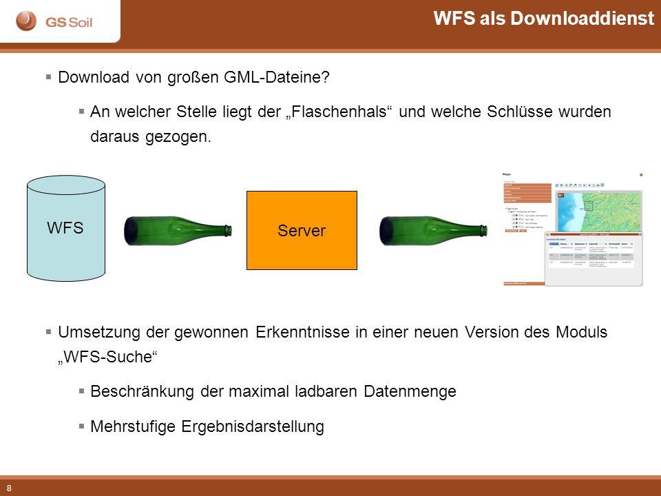 8 Download von großen GML-Dateine? An welcher Stelle liegt der Flaschenhals und welche Schlüsse wurden daraus gezogen. WFS als Downloaddienst WFS Serv