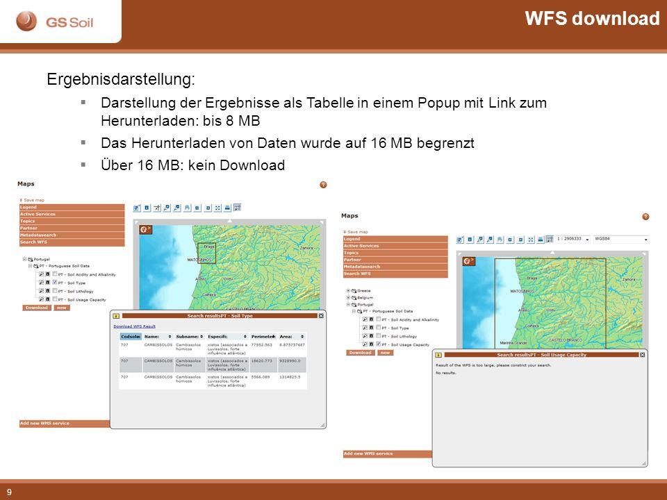 9 Ergebnisdarstellung: Darstellung der Ergebnisse als Tabelle in einem Popup mit Link zum Herunterladen: bis 8 MB Das Herunterladen von Daten wurde au