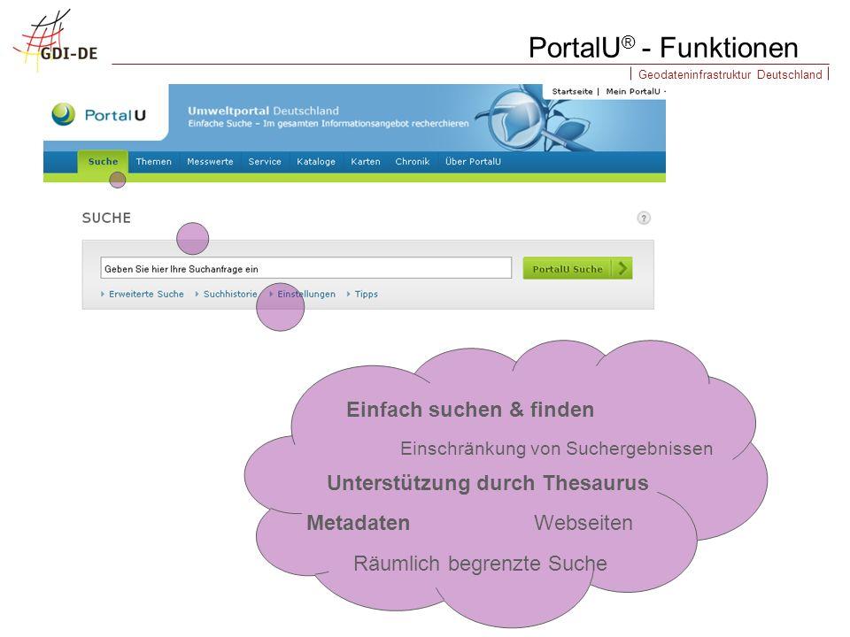 Geodateninfrastruktur Deutschland PortalU ® - Funktionen Metadaten Räumlich begrenzte Suche Einschränkung von Suchergebnissen Einfach suchen & finden