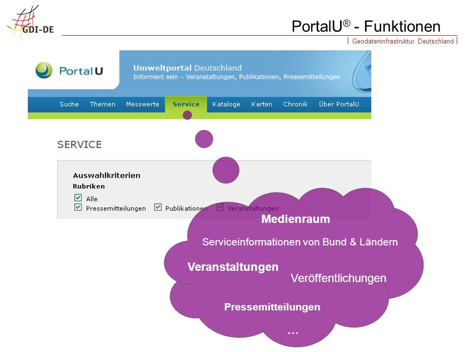 Geodateninfrastruktur Deutschland PortalU ® - Funktionen Serviceinformationen von Bund & Ländern Medienraum Pressemitteilungen Veröffentlichungen Veranstaltungen …