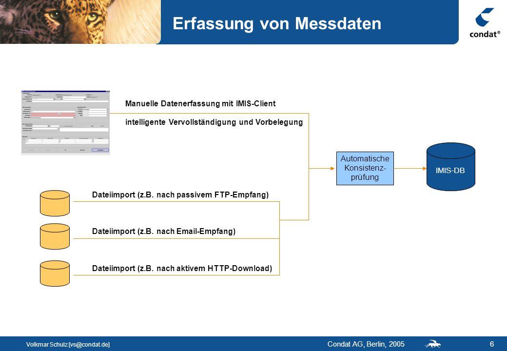 Volkmar Schulz [vs@condat.de] Condat AG, Berlin, 20056 Erfassung von Messdaten IMIS-DB Dateiimport (z.B.