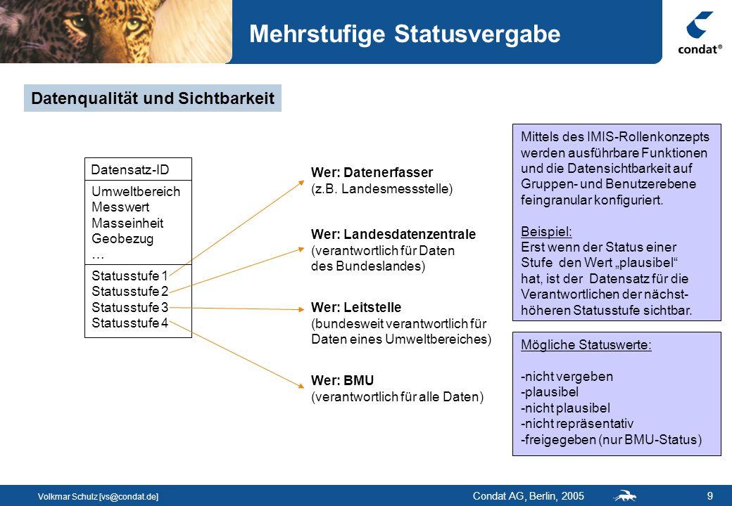Volkmar Schulz [vs@condat.de] Condat AG, Berlin, 200510 Konsistenzprüfung bei der Statusvergabe In der DB gespeicherte und pflegbare Konsistenzregeln werden im Rahmen der Statusvergabe ausgeführt Regeln werden differenziert nach Warnung und Fehler Wird eine Fehlerregel verletzt, ist die Statusvergabe nicht möglich Konsistenzregeln prüfen - Vollständigkeit der Pflichtfelder - Inhalte einzelner Felder gegen gültige Wertebereiche - Konsistenzen zwischen abhängigen Felder Konsistenzregeln gewährleisten, dass ausschließlich valide Datensätze freigegeben und damit für alle sichtbar werden !