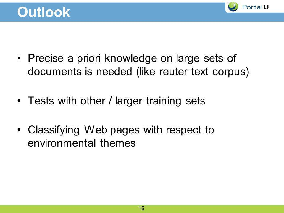 16 Outlook Precise a priori knowledge on large sets of documents is needed (like reuter text corpus) Tests with other / larger training sets Classifying Web pages with respect to environmental themes