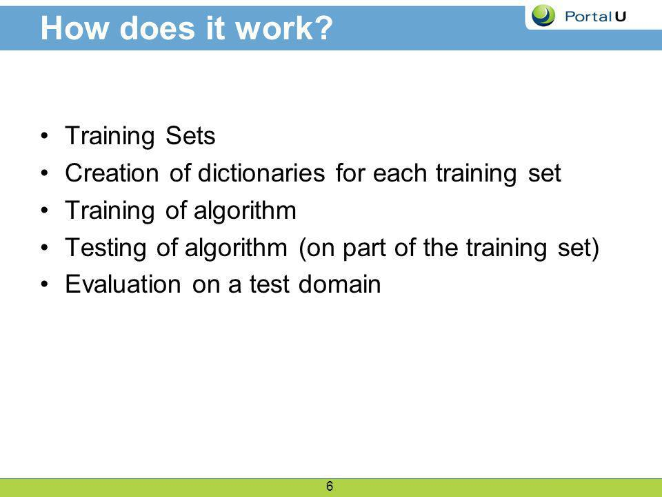 7 Training Sets Two sets of Web Pages.