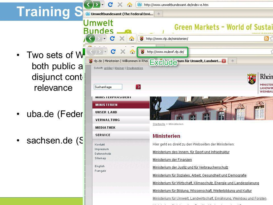 7 Training Sets Two sets of Web Pages. both public authorities disjunct content with respect to environmental relevance uba.de (Federal Environment Ag