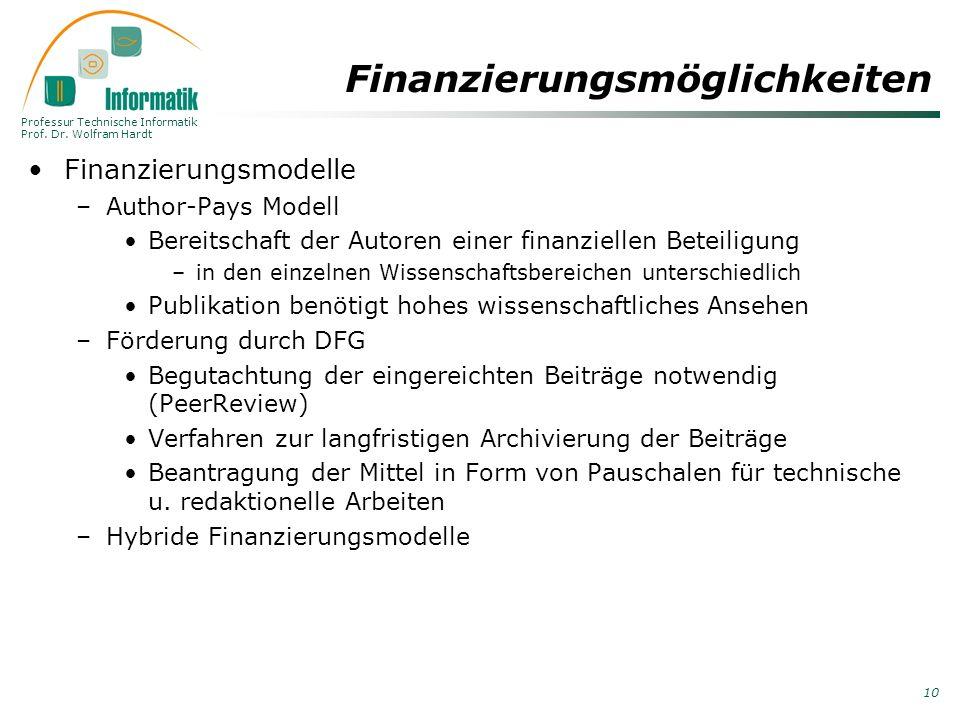 Professur Technische Informatik Prof. Dr. Wolfram Hardt 10 Finanzierungsmöglichkeiten Finanzierungsmodelle –Author-Pays Modell Bereitschaft der Autore