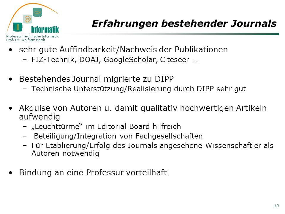 Professur Technische Informatik Prof. Dr. Wolfram Hardt 13 Erfahrungen bestehender Journals sehr gute Auffindbarkeit/Nachweis der Publikationen –FIZ-T