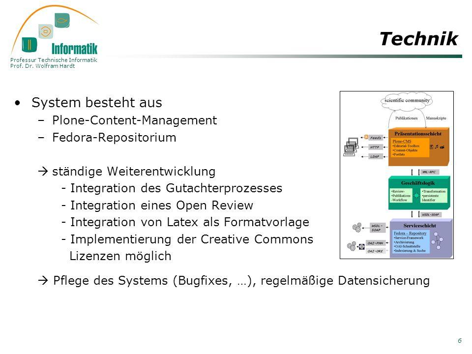 Professur Technische Informatik Prof. Dr. Wolfram Hardt 6 Technik System besteht aus –Plone-Content-Management –Fedora-Repositorium ständige Weiterent
