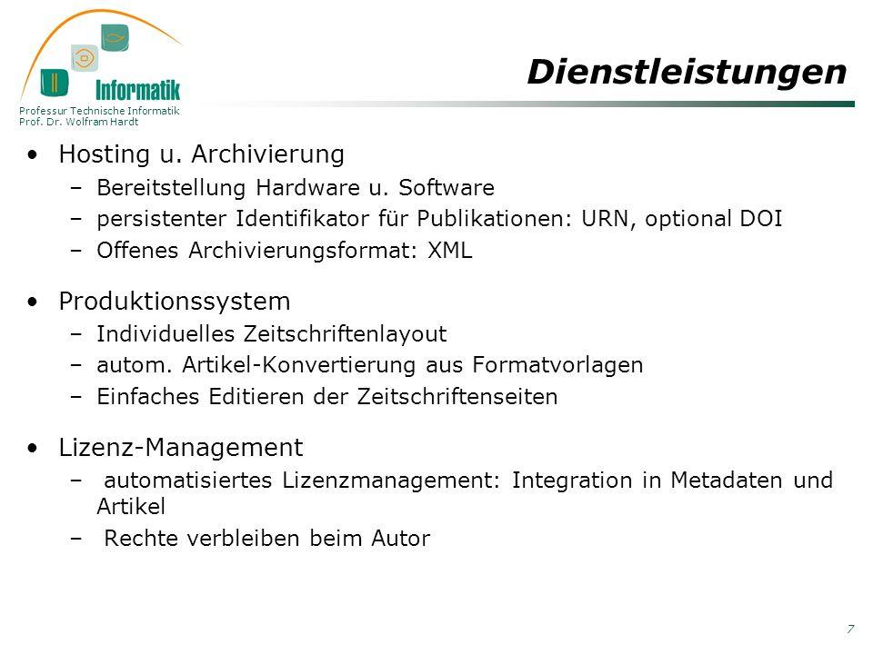 Professur Technische Informatik Prof. Dr. Wolfram Hardt 7 Dienstleistungen Hosting u. Archivierung –Bereitstellung Hardware u. Software –persistenter