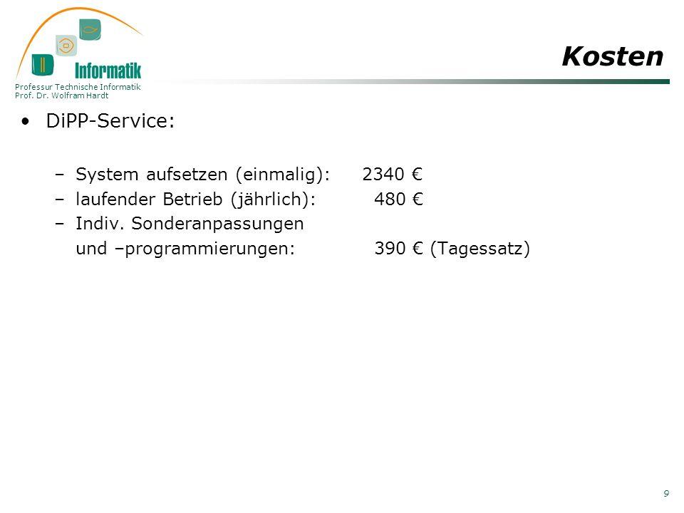 Professur Technische Informatik Prof. Dr. Wolfram Hardt 9 Kosten DiPP-Service: –System aufsetzen (einmalig): 2340 –laufender Betrieb (jährlich): 480 –